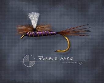 "Purple Haze Dry Fly (8"" x 10"")"