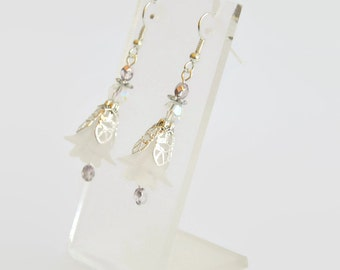 White mauve purple silver hand dyed lucite flower Swarovski and pearl earrings, crystal earrings, flower earrings, beaded earrings