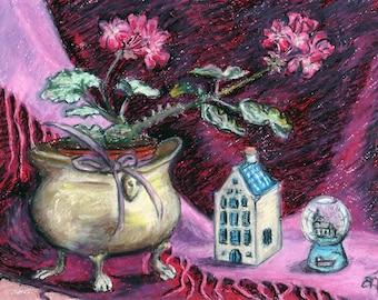 "Original Oil Pastel Artwork, ""Grandma's geranium"", Still-life, Impressionist Art,  11"" x 8"" Geranium, Crystal snow ball, KLM house, wall art"