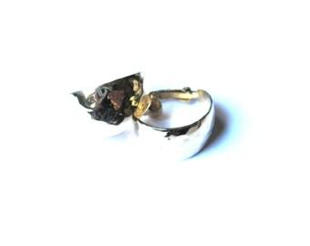 Hammered Gold Wide Hoop Clip On Earrings