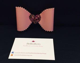 Valentine's Day heart bow hair clip or headband