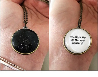 Inspirational Star Map Glass Pendant, Night Sky Necklace, Personalized, Anniversary, Engagement Gift, Moon, Space, Travel, Constellation