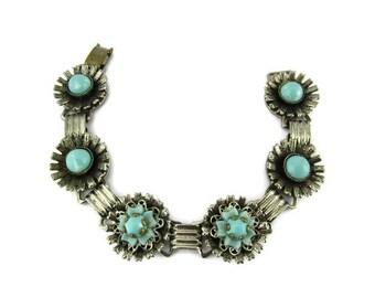 Turquoise Flower Bracelet/ Blue Lucite Floral Bracelet/ Silver tone Book Chain /