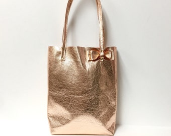 Leather tote bag // Simple market tote bag // rose gold slouchy tote // minimal metallic tote bag in your choice of gold silver or pink