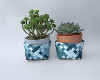 Small Storage Basket or plant pot, handwoven from recycled materials. Gift for crazy plant lady, indigo blue