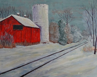 Old Barn by the Tracks (original acrylic painting) Red barn painting, Ohio barn art, Ohio red barn painting, rustic red barn.