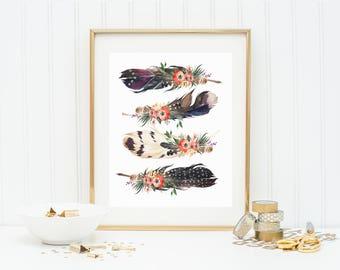 Feather Print, Feather Printable, Tribal Print, Feather And Flower Print, Feather Wall Art, Feather Decor, Boho Decor, Tribal Nursery Prints