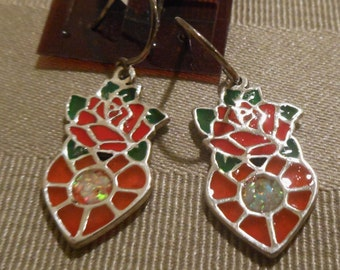 Rose and Heart Earrings