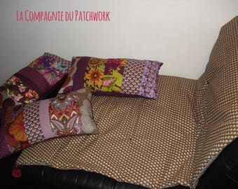 """Small plaid """"quilt"""" and tassels to decorate a corner of the sofa, Chair or bed blanket 1.50 x 0.72 mtr."""