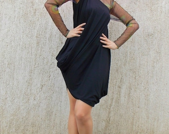 Extravagant Asymmetrical Black Dress Tunic / Black Dress Top with Tulle Sleeves / Plus Size Tunic Dress TDK72