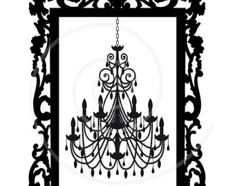 Vintage chandelier in antique picture frame, digital clip art, clipart, art print, printable wall art, home decor, EPS,SVG, instant download