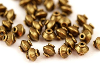 20 Metal Beads 7x 7.5 mm Bronze