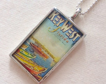 Vintage Key West Travel Poster Pendant Necklace