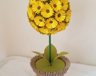 Paper Sunflower Ball Centerpiece in 3d Origami Vase