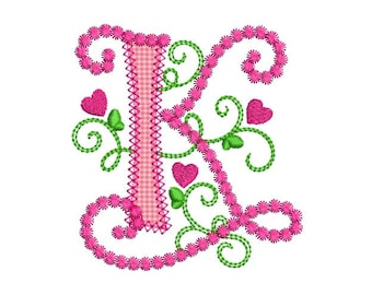 Cute Letter K Alphabet For Lil Princess Hearts Applique Embroidery Design Monogram Initials Valentines Day