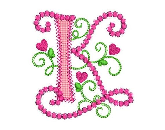 Cute Letter K Alphabet For Lil Princess Hearts Applique