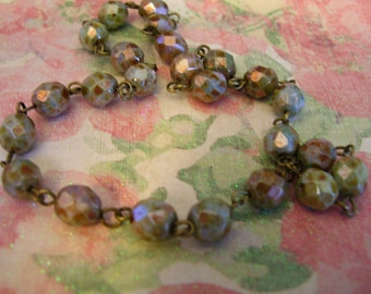 BC57 Handmade Linked Rosary chain Vintage Style Luster Opaque Green 6mm Faceted Czech Glass Beads