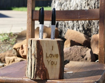 Rustic Marker Holder, tree stump, 2 holes, laser personalized, choose your wording, rustic, woodland, barn, garden wedding, party, event