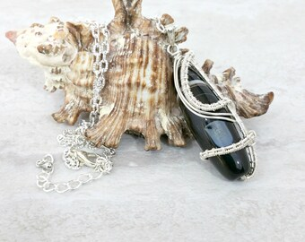 Agate Statement Necklace Gemstone Necklace Wire Wrapped Pendant Silver Wire Wrapped Jewelry Agate Jewelry dZi Gift for Her Gift for Mom