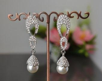 "Earrings ""Love bell"",Wedding long earrings with pearls."
