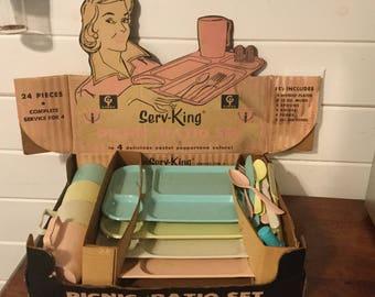 Vintage Gimax Serv-King Picnic Set,Plastic Servingware,Camper Servingware