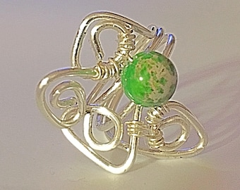Angel Design Silver Wire Wrap Ring with lively stone