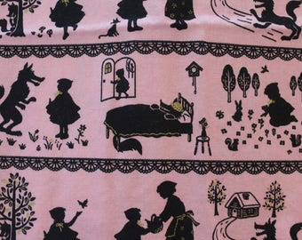 Red Riding Hood pink and black 100% cotton fabric Japan