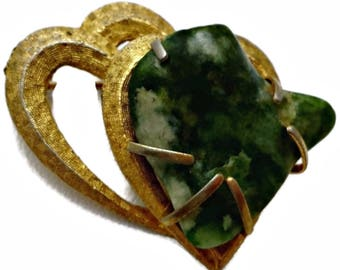 Heart Shape Green Agate in Double Heart Brooch signed BSK Textured Goldtone