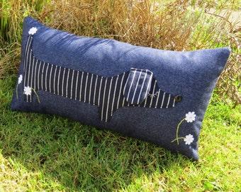 Long dog.  A pinstripe dachshund pillow.  Dachshund cushion.  Complete with cushion pad.