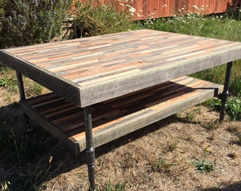 Sale! Ready to ship! Beautiful barn wood coffee table with shelf in a mosaic pattern and featuring steel pipe legs