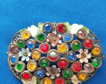 Enamel Floral Brooch with Colored Rhinestones