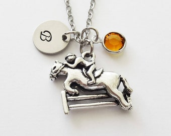Horse Race Necklace, Hurdling, Animal Jewelry, BFF, Friend Gift, Swarovski Birthstone, Silver Initial, Personalized, Monogram, Hand Stamped