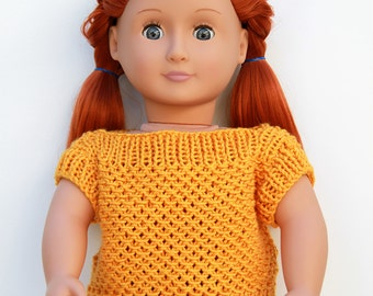 Yellow Doll Summer Short Sleeve Sweater With Matching Infinity Scarf - Hand Knitted Sweater in Interesting Pattern for 18-Inch Fashion Dolls