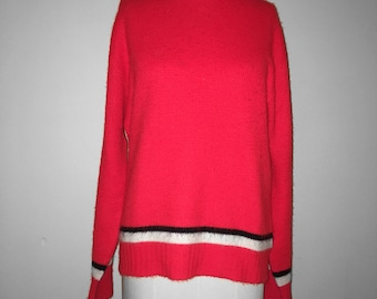 Vintage 70s Cherry Red Knit Sweater