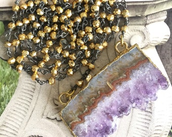 Small Tiny Gold Pyrite Rosary Sliced Amethyst Necklace, Long Wrap Bohemian Oxidized Chain,Fashion Purple Gemstone Jewelry,Her Statement Gift