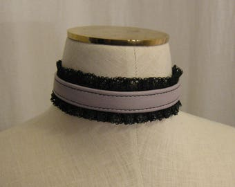 Lavender Leather and Black Lace Choker