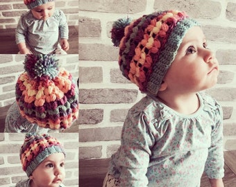 Puff stitch beanie - pattern