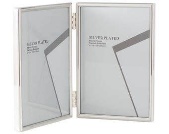 """Silver Plated Folding Picture Frames 4 x 6"""""""