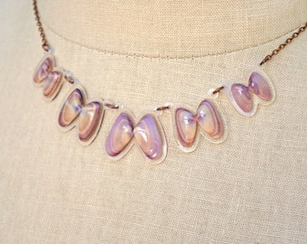 READY MADE SALE - Coquina Shell Necklace - Shell Necklace - Florida Seashell Beach Mermaid Jewelry - Purple & Beige