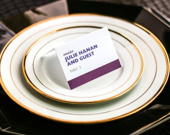 "Purple and Fuchsia Party Place Cards, Modern Mitzvah Escort Cards, Striped Wedding Stationery - ""Bold Striped"" Tented Placecard v3 - DEPOSIT"