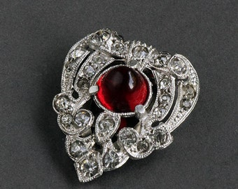 Rhinestone Dress Clip, Vintage Antique 1930s Red Glass Pavè Style Clip