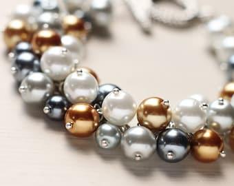 Gold Yellow Grey Wedding Jewelry Pearl Cluster Bracelet - I Dream of Craspedia