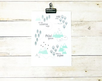 Gray and Green PNW Print - Pacific Northwest Print - Mint, Emerald Green, & Gray 11x14 or 8x10 Nursery Art - Ready to Ship!