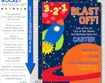 Space Birthday Party Invitation | Rocket Birthday Party Invite | Space Invitation Printable | Rocket Invite | Amanda's Parties To Go