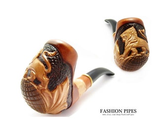 """Pipe Tobacco Pipes Carved """"LION"""" Smoking Pipe/Pipes, Wooden pipe-pipes of Pear Wood  Pipe Handcrafted & Pouch GIFT"""