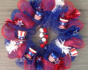 """4th of July Hats w/ Bells Wreath 20"""""""