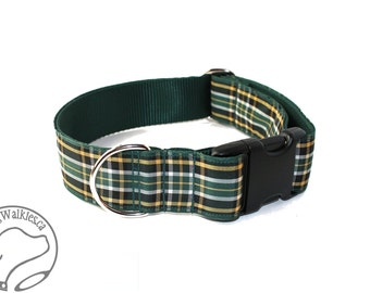 """Irish National Tartan Dog Collar - 1.5"""" (38mm) Wide - Green and Gold Plaid - Martingale or Quick Side Release - Choice of style and size"""
