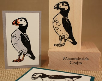 ATLANTIC PUFFIN- Wood Mounted Rubber Stamp (MCRS 24-06)