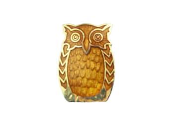 Orange Enamel Owl Brooch, Gold Owl Pin, Enamel Bird Brooch, Enamel Bird Pin