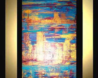 Original Extra Large Abstract Painting Modern Acrylic Painting Oil Painting Canvas Art Gold TWO CITIES 36x24 Textured Wall Art  J.LEIGH